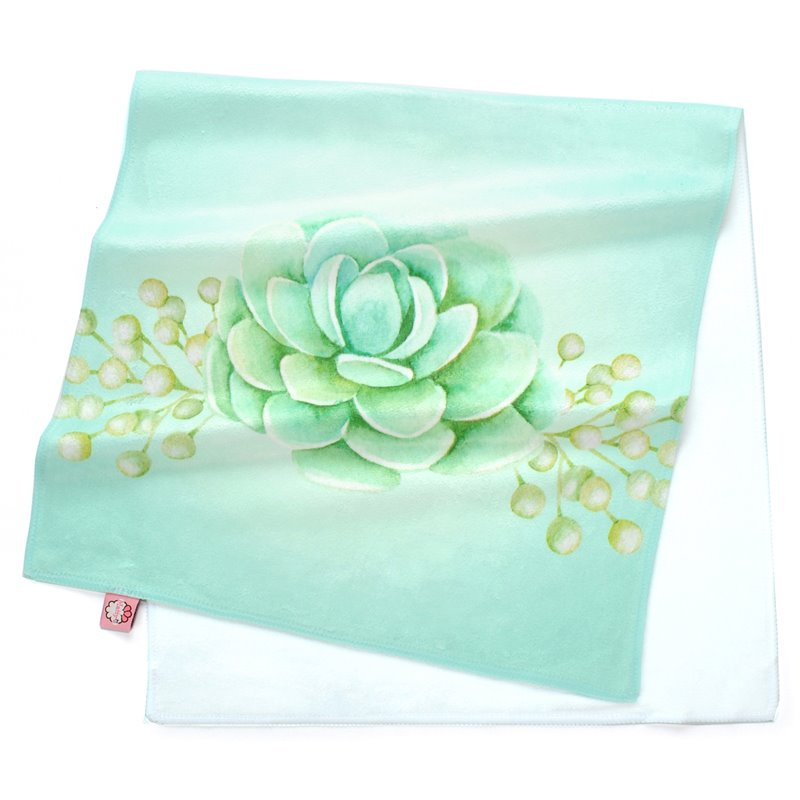 Lovely Watercolor Green Succulents Printing Face & Hand Towel