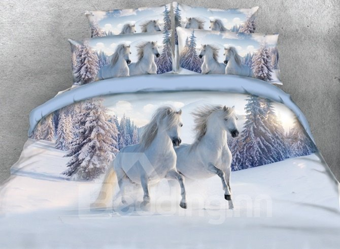 White Horses in the Snow Bedding Set
