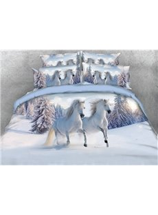 White Horse Digital Printing 4-Piece Duvet Cover Sets