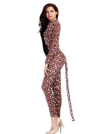 Sexy Net Hollow Chest Fantastic Leopard With Tail Cosplay Costumes
