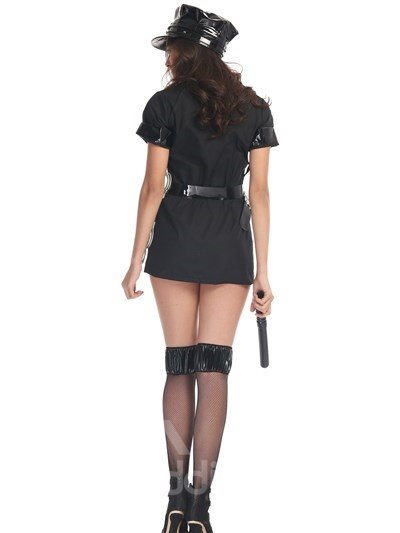 Classic Black Policewoman Cloth Design With Sexy Sock Cosplay Costumes