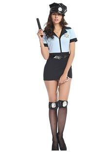 Sexy Policewoman Modeling Short Skirt Temptation Cosplay Costumes