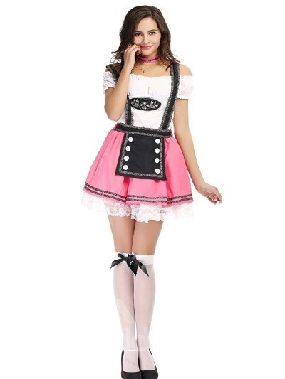 Lovely And Beautiful Maid Modeling Pink Short Skirt Cosplay Costumes
