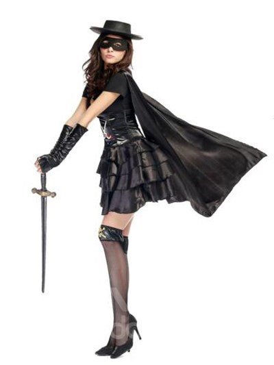 Cool Zorro Modeling With Sexy Floral Black Skirt Cosplay Costumes