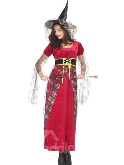 Beautiful Witch With Mysterious Crape Style Charming Cosplay Costumes