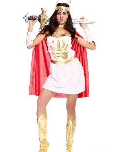 Queen Athena Soldier With Cool Red Cloak Cosplay Costumes