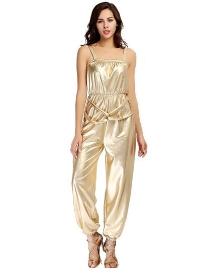 Sexy Bright Gold Color Loose Pants Style Design Cosplay Costumes