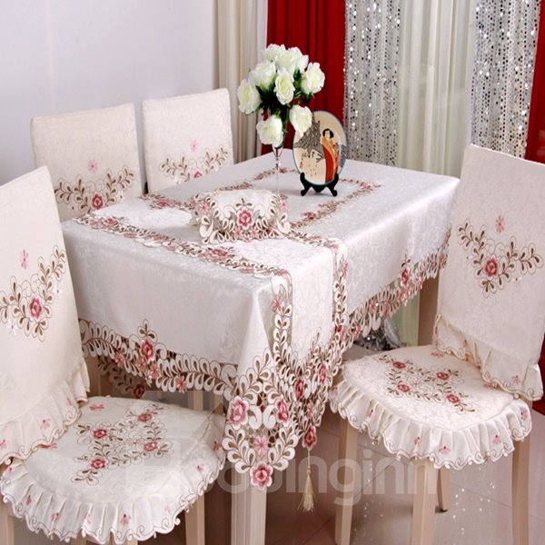 Soft Polyester Fibre Removable Washable Flower Pattern Dining Chair Covers