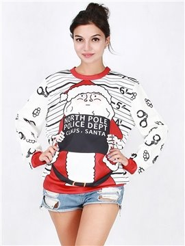Popular Christmas Style Long Sleeve Santa Claus Pattern 3D Painted Hoodie