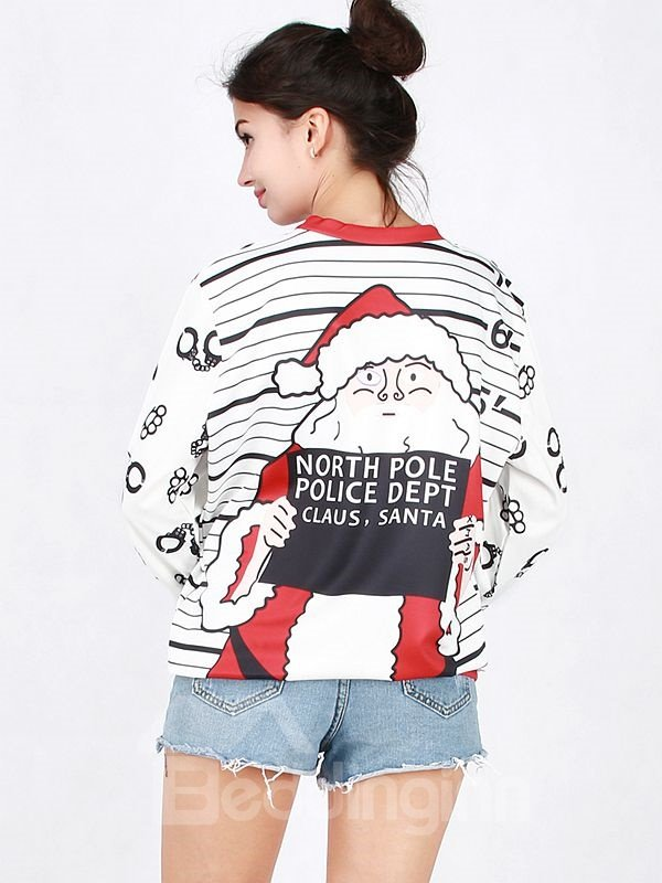 Popular Christmas Style Long Sleeve Santa Claus Pattern 3D Painted Hoodie