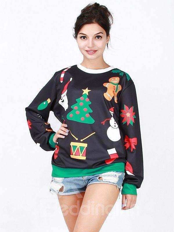 Wonderful Christmas Style Long Sleeve Christmas Tree Pattern 3D Painted Hoodie
