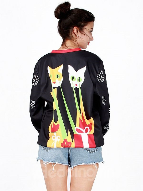 Fashion Christmas Style Long Sleeve Cat Pattern 3D Painted Hoodie