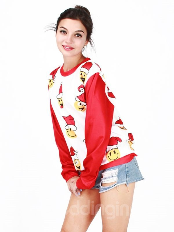 Cute Christmas Style Long Sleeve Christmas Hat Pattern 3D Painted Hoodie