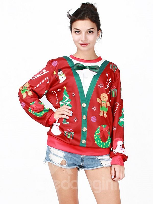 Christmas Style Long Sleeve Christmas Doll Pattern Red 3D Painted Hoodie