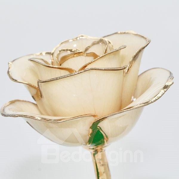 Romantic Forever Love Never Fade Champagne 24K Gold Rose