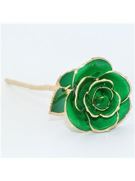 Luxury Forever Love Never Fade Green 24K Gold Rose