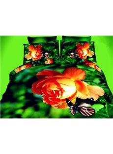 Pomegranate Blossom and Butterfly Print 4-Piece Polyester Duvet Cover Sets