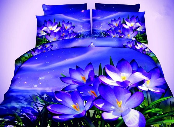 Mysterious Pansy Print 4-Piece Polyester Duvet Cover Sets