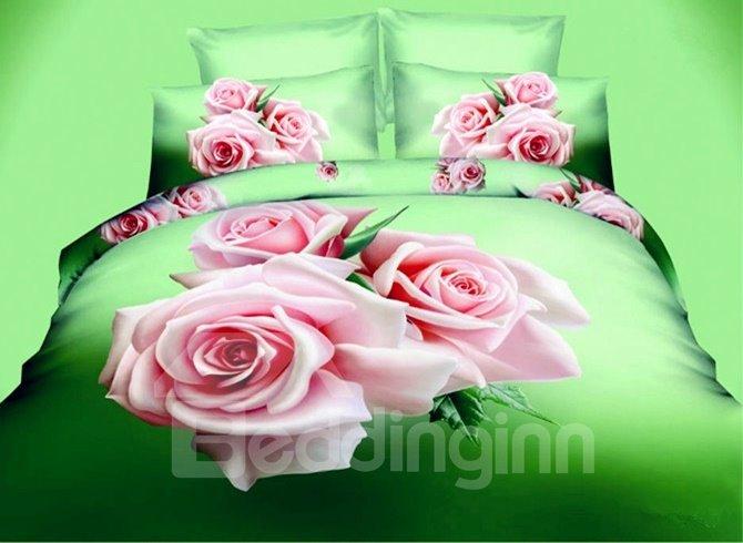Fragrant 3D Pink Rose Printed 4-Piece Polyester Duvet Cover Sets