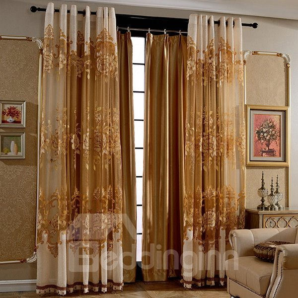 Decoration and Blackout European Style Solid Golden Shading Cloth Grommet Top Curtain
