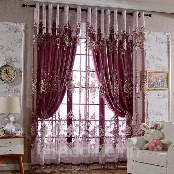 Gorgeous Purple Peony Printing Custom Sheer Curtain