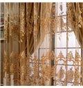 Luxury European Style Golden Peony Printing Custom Sheer Curtain