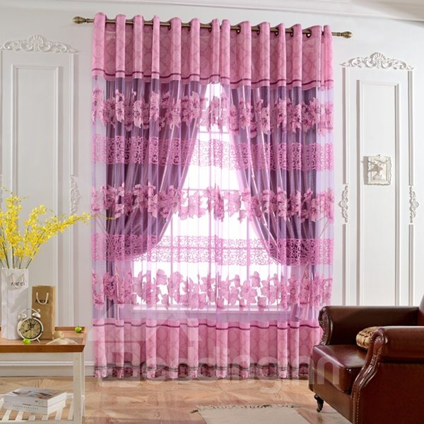 Elegant Purple Full-Bloom Lily Printing Custom Sheer Curtain