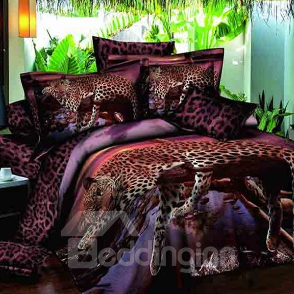 Lying Leopard Print 100% Cotton 3D Fitted Sheet