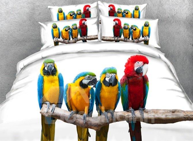 Colorful 3D Parrot Digital Printing 4-Piece Duvet Cover Sets