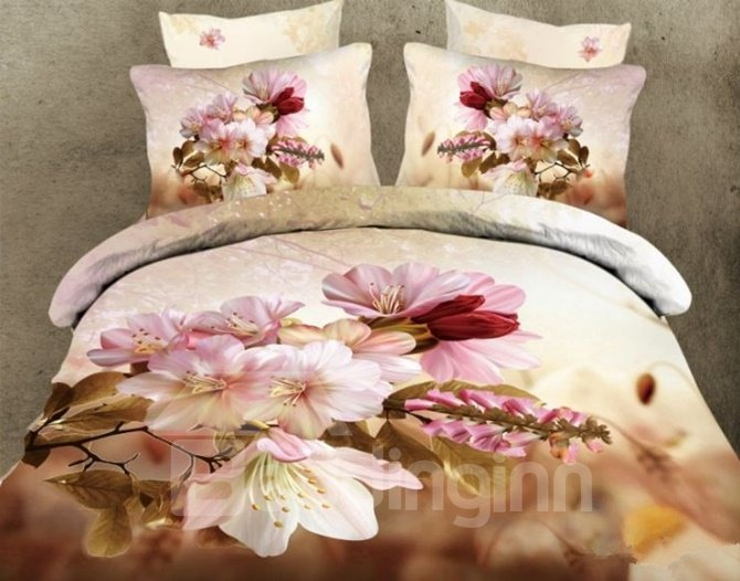 3D Pink Cherry Blossom Printed Cotton Full Size 4-Piece Bedding Sets/Duvet Covers