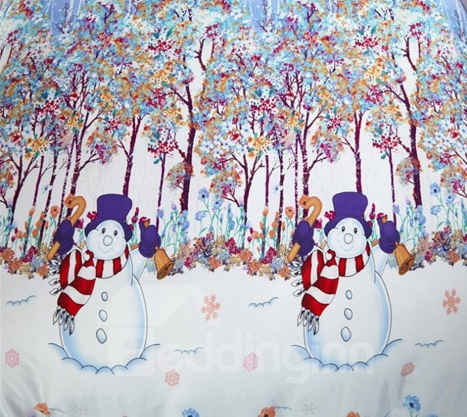 Likable Snowman Print Christmas 4-Piece Tencel Duvet Cover Sets