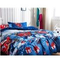 Christmas Gift and Santa Claus Print 4-Piece Polyester Duvet Cover Sets