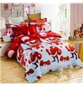 Lovely Santa Claus Print 4-Piece Polyester Duvet Cover Sets