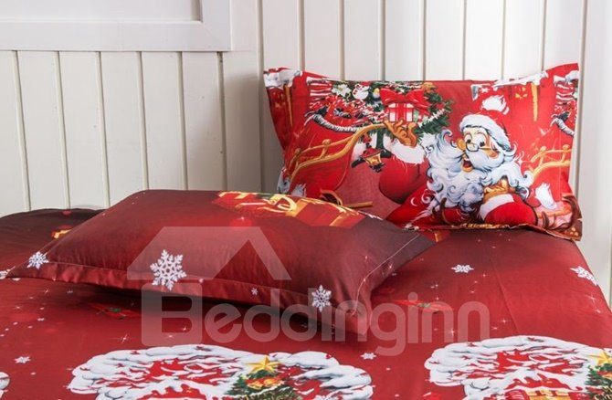 Santa Claus and Reindeer Print 4-Piece Polyester Duvet Cover Sets