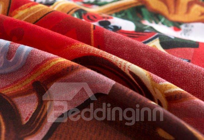 Likable Santa Claus & Reindeer Print 4-Piece Polyester Duvet Cover Sets