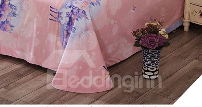 Dreamy Colorful Deer Print 4-Piece Cotton Duvet Cover Sets
