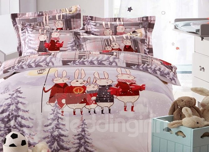 Adorable Christmas Rabbit Print 4-Piece Duvet Cover Sets