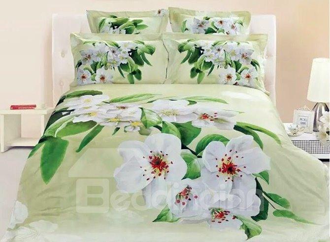 Fresh White Pear Blossom Print 4-Piece Duvet Cover Sets