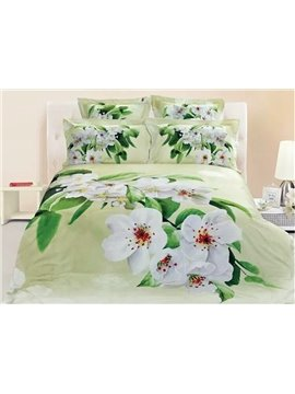 Fresh White Pear Blossom Print 4-Piece Duvet Cover Sets
