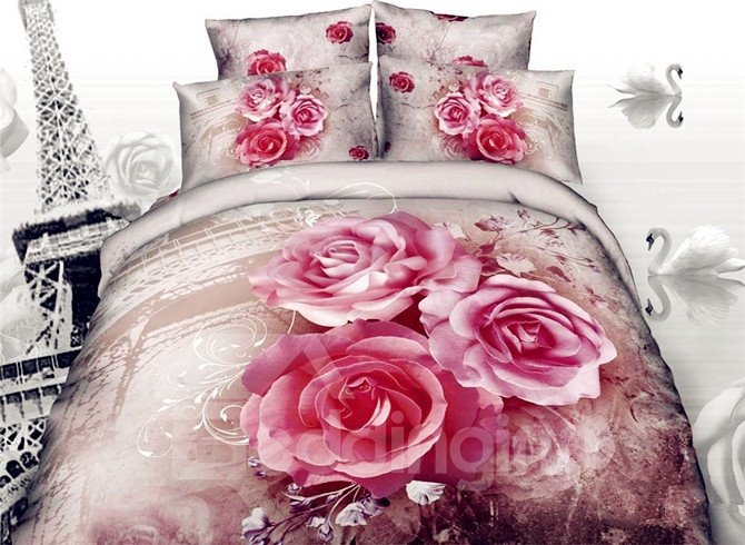 Eiffel Tower and Red Rose 3D Print 4-Piece Cotton Duvet Cover Sets