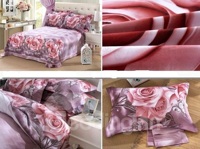 3D Bunch of Pink Roses Printed Pastoral Cotton Full Size 4-Piece Bedding Sets