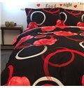 Romantic Red Rose and Circle Print 4-Piece Cotton Duvet Cover Sets