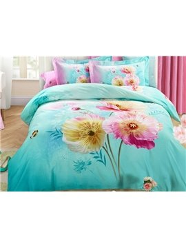 Fresh Corn Poppy 3D Print 4-Piece Cotton Duvet Cover Sets