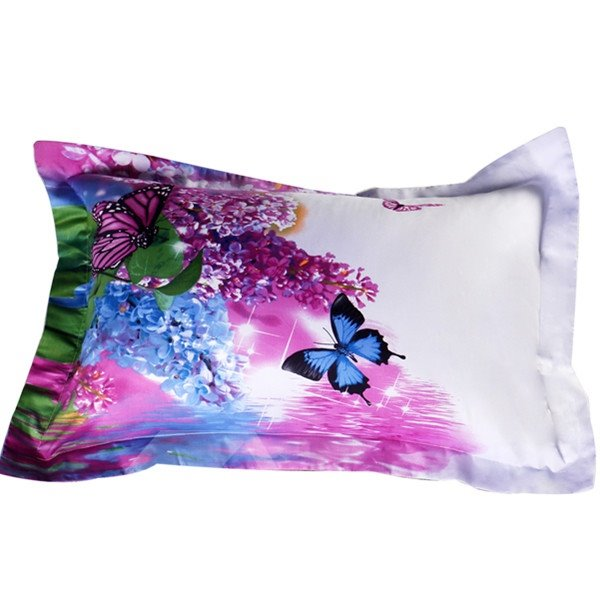 Beautiful Lilac and Butterfly Printed 2-Piece Pillow Cases