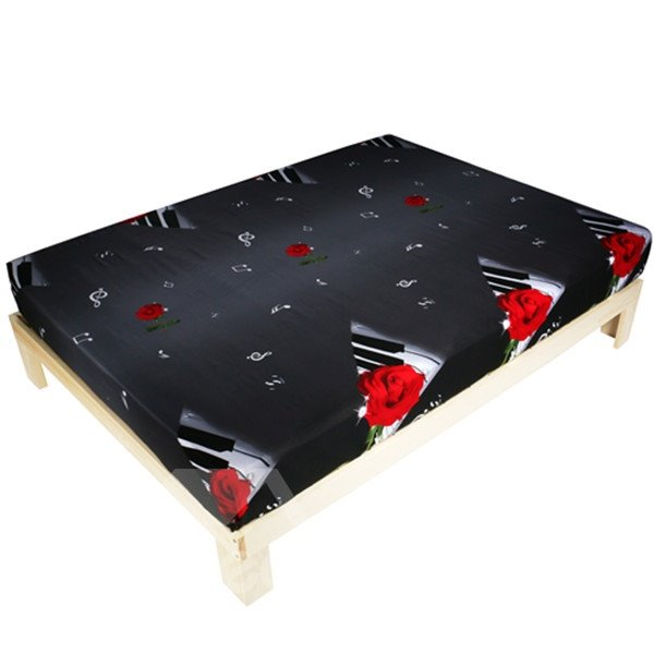 Excellent Piano with Red Rose Print 3D Fitted Sheet