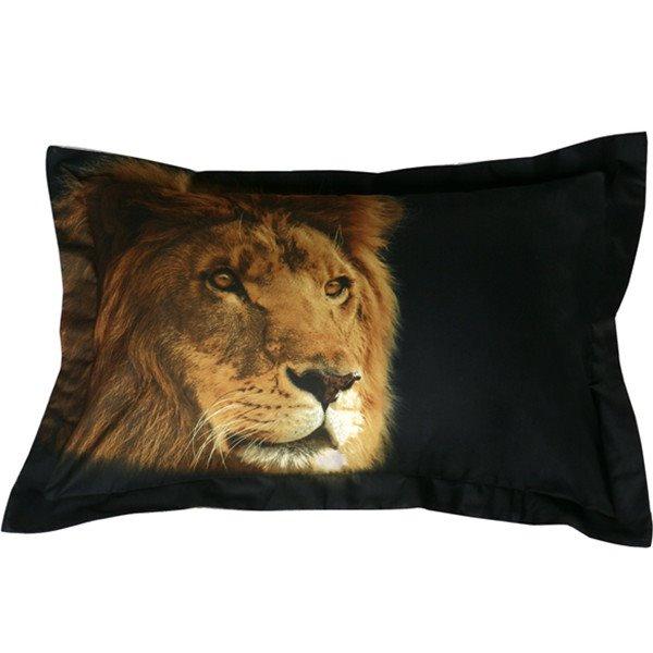 Amazing Lifelike Lion Print Polyester 2-Piece Pillow Cases