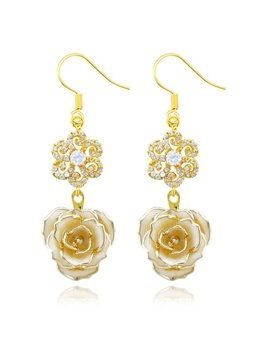 Charming Shining Snowflakel Design 24k Gold Rose Earrings