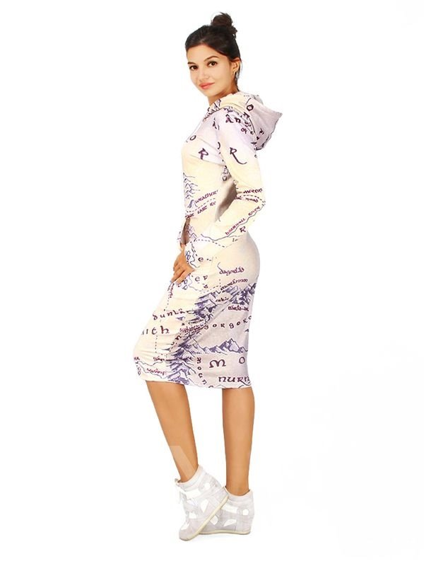 Unique Long Sleeve Map Pattern 3D Painted Hoodie Dress