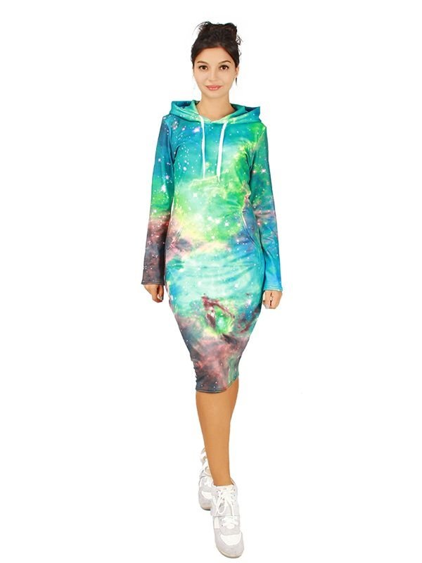 Shining Long Sleeve Galaxy Pattern 3D Painted Hoodie Dress