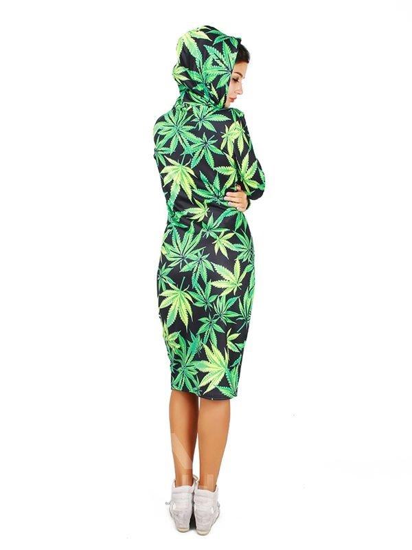 Concise Long Sleeve Leaves Pattern 3D Painted Hoodie Dress
